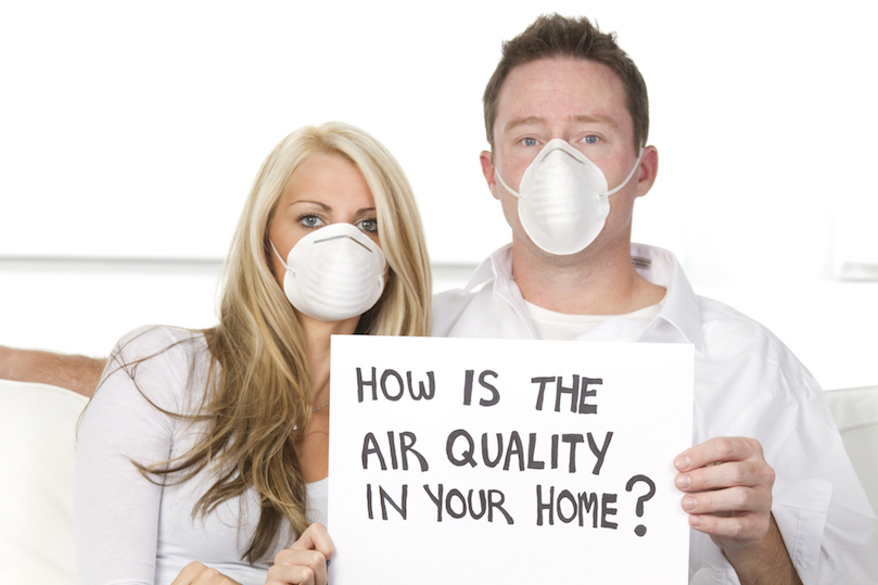 Couple suffering from poor air quality in home